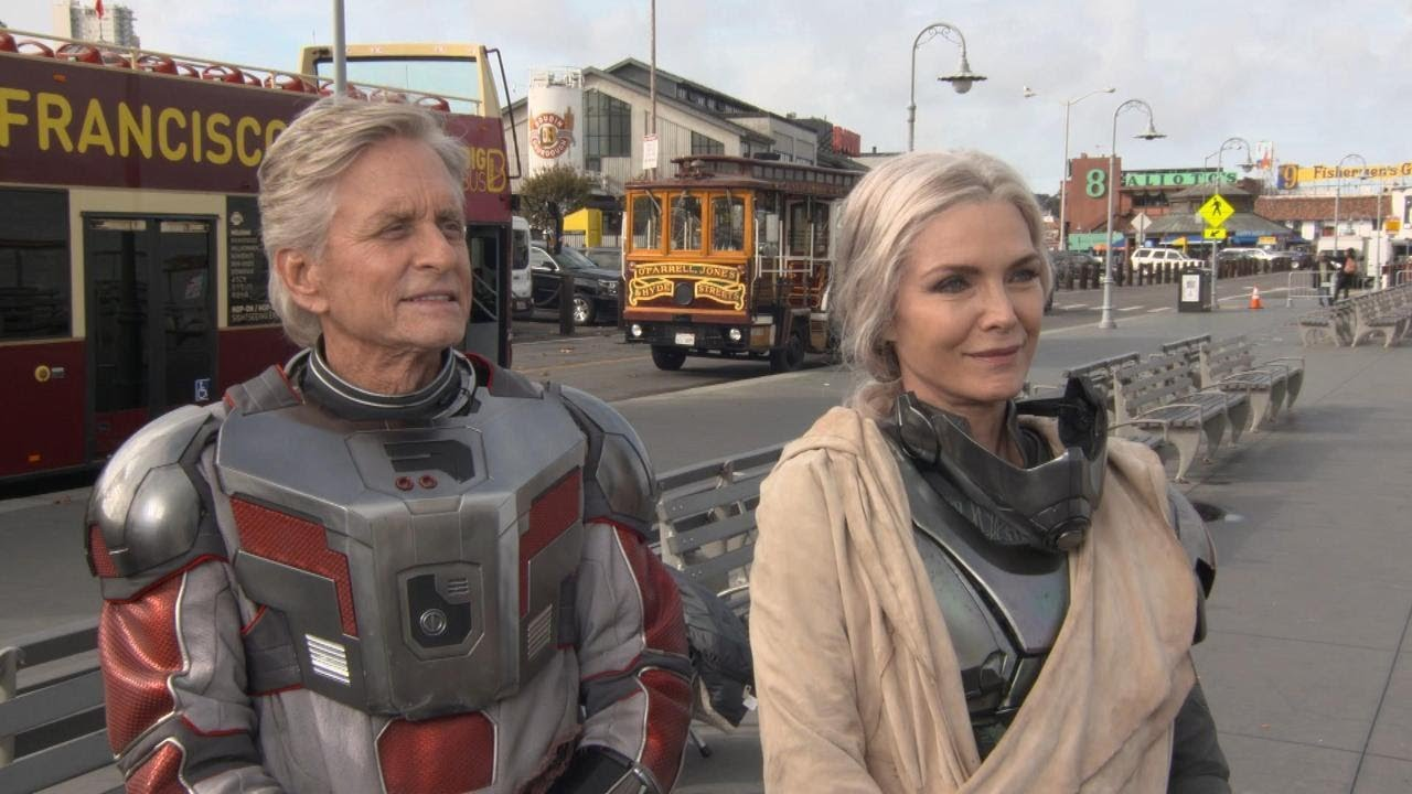 Michael Douglas And Michelle Pfeiffer Talk Challenges Of The Supersuit On Set Of Ant Man And The Youtube