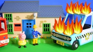 Fireman Sam Episode Peppa Pig Police Car Fire Engine Pontypandy Kids Story Fun