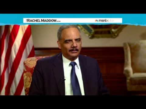 Eric Holder = hard hitting interview with MSNBC