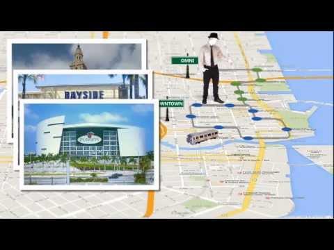 Utilizando el Metromover de Miami.