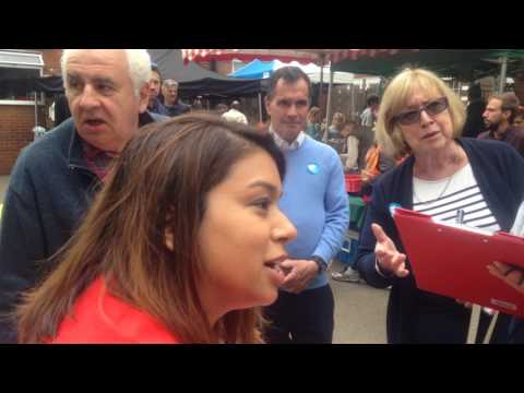 CNJ: Tulip Siddiq vs Tory supporter at Queens Park Farmers Market. General Election 2017