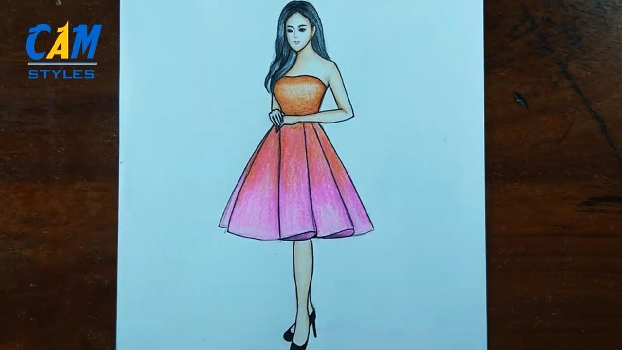 Pink Dress Drawing How To Draw Easy Girl With Beautiful Dress Youtube