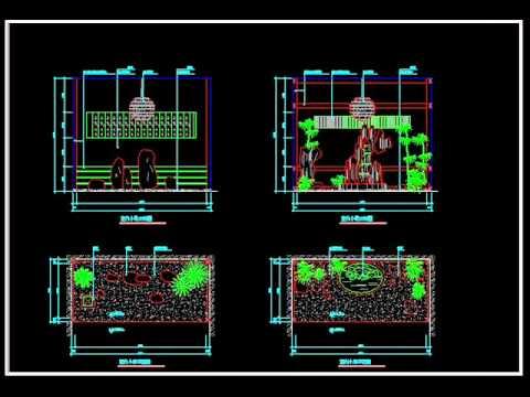 【建築家autocad圖庫】各式園藝 庭園 屋頂 陽台 水池 造景施工設計圖 Wmv Youtube