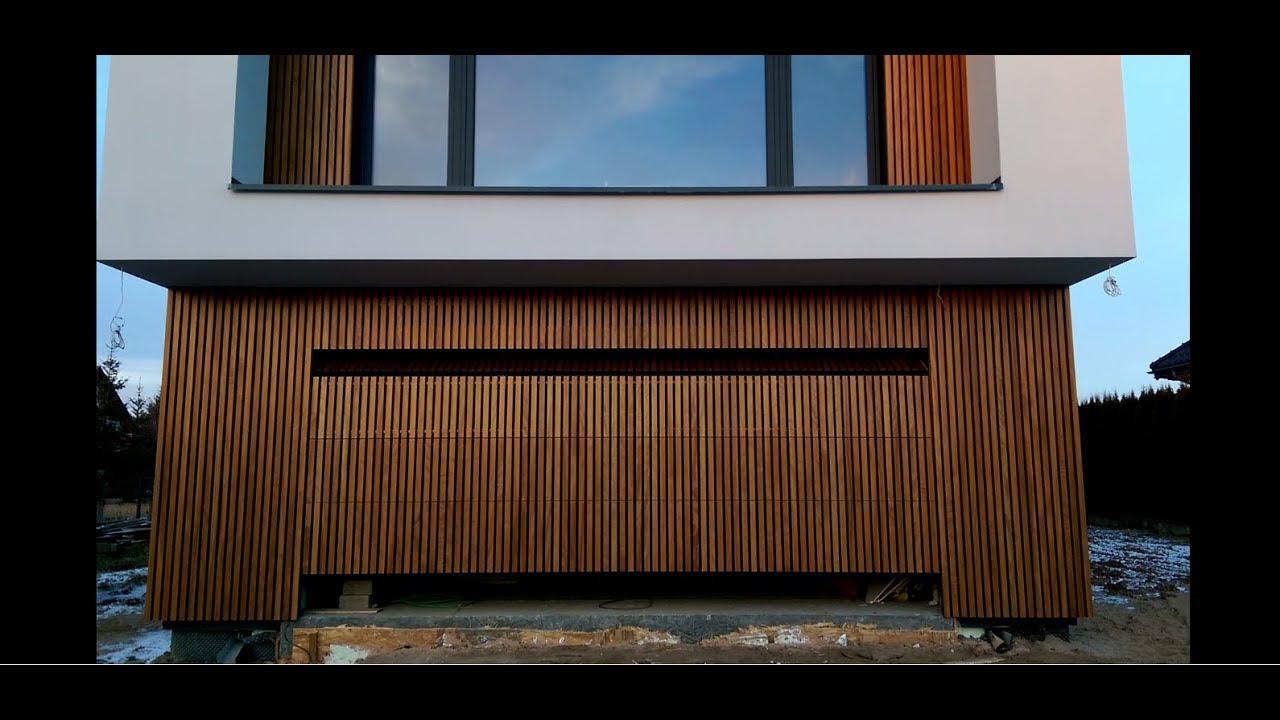 Genialny Elewacja drewniana - automatyczna brama garażowa obłożona drewnem NV16