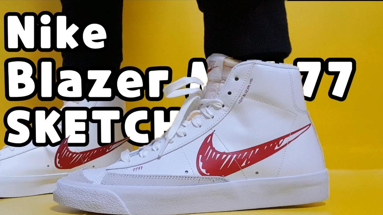 Nike Blazer Mid '77 'Sketch Pack' White Red unboxing/Nike Blazer Mid 77 on  feet review