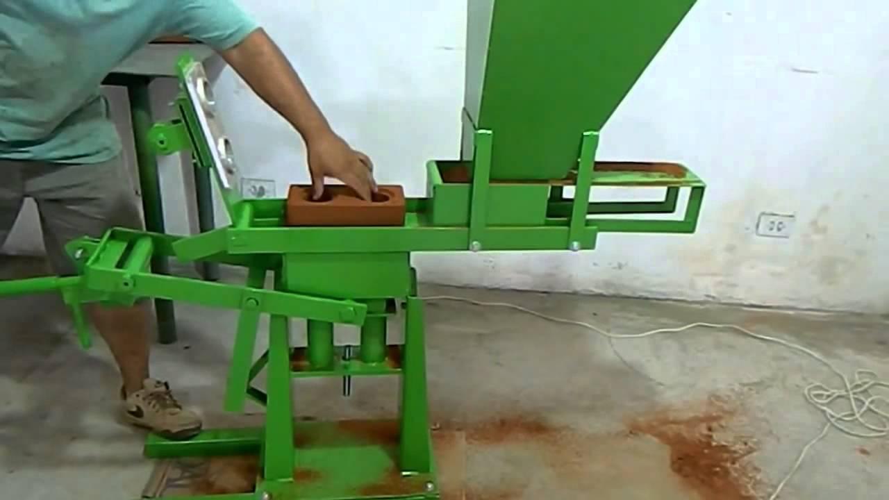 Interlocking Compressed Earth Block Machine : Fl compressed earth block machine youtube