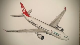 Türkish Airlines,Airbus A330,Drawing Timelapse