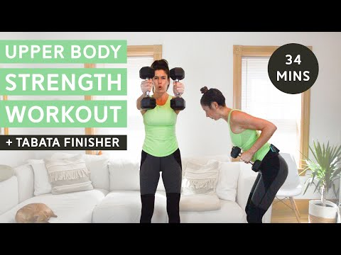 Upper Body Strength Workout with Tabata Finisher (34 Mins)