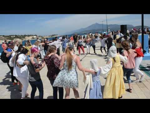 Samos Zorba dance at Pythagorion Port,Samos Island Greece 2017