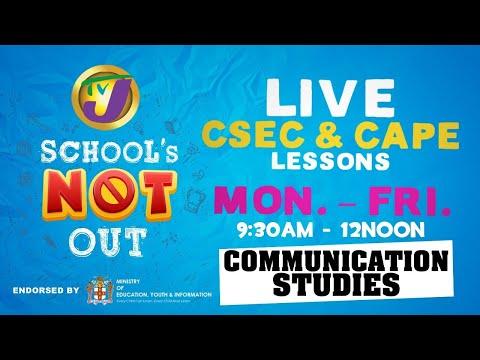 CAPE Communication Studies Lesson  - May 13 2020