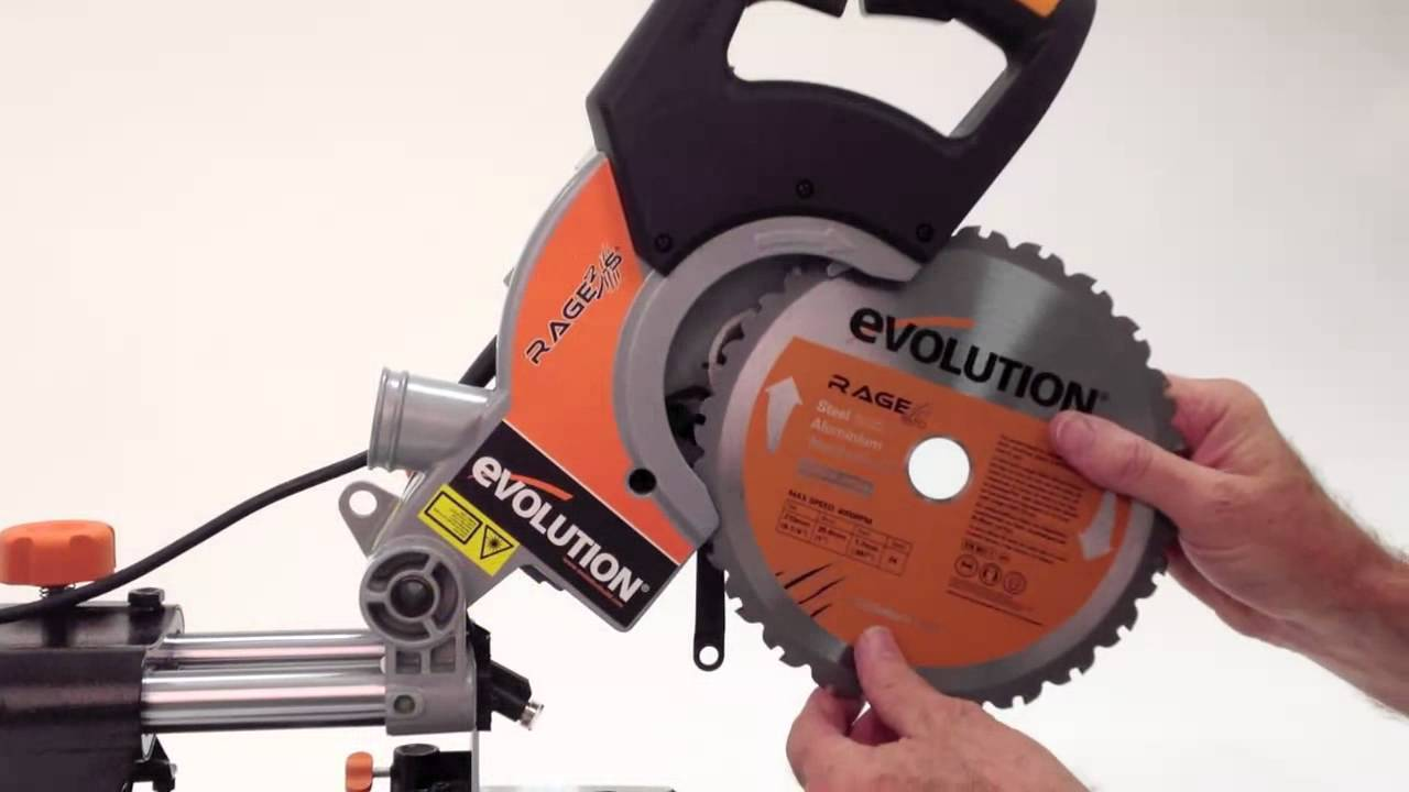 Mitre saw blade installation on evolution mitre saw youtube greentooth Choice Image