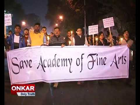 Save Academy of Fine Arts Kolkata Candle March protest rally against trustee board's irregularities