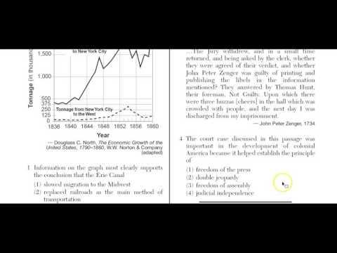 US History Regents January 2015 Q 1-19