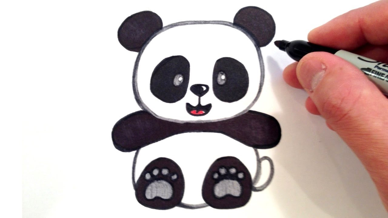 How to draw a cute panda bear