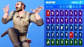 *NEW* Fortnite Chief Hopper Stranger Things Skin Outfit Showcase with All Dances & Emotes