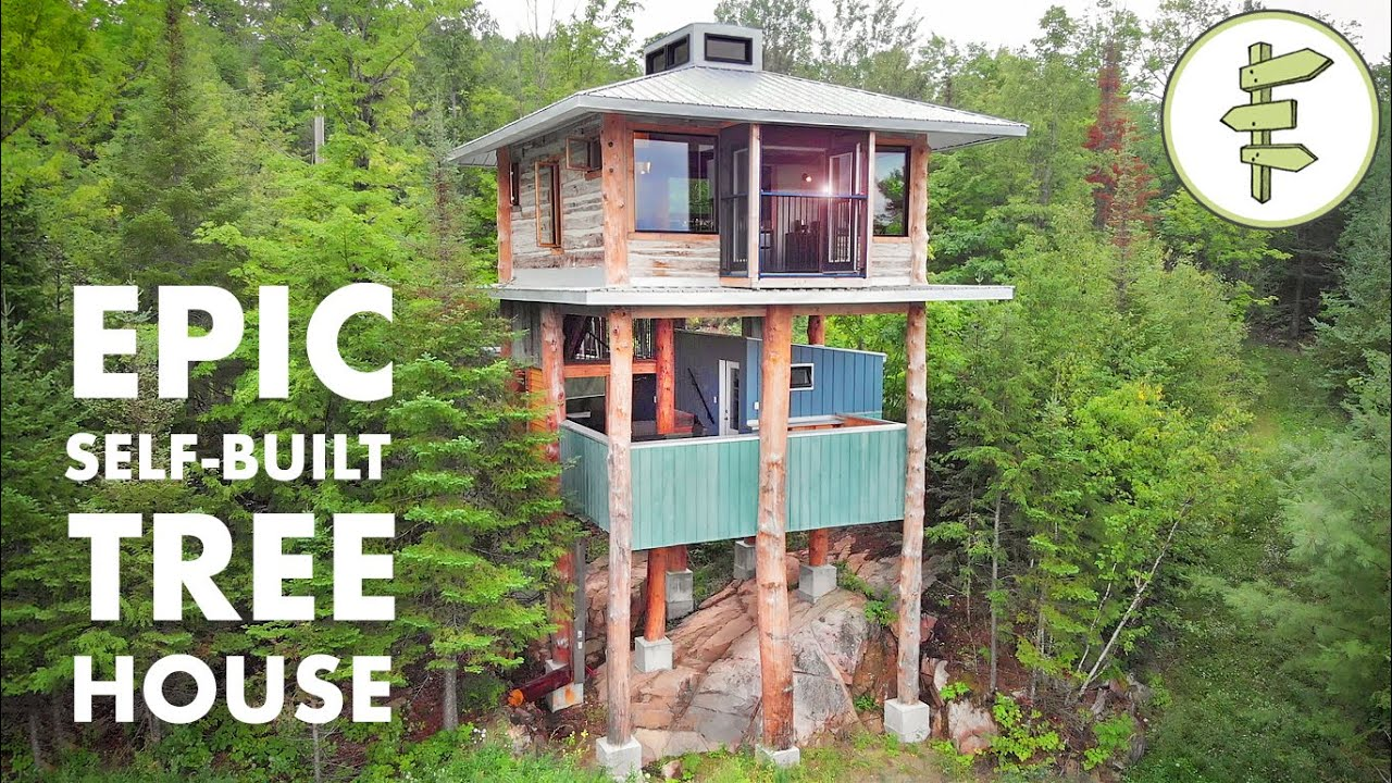 Mind-Blowing Modern Tiny Tree House Built with Reclaimed Materials - FULL TOUR