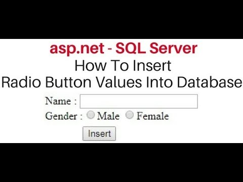 Insert (save) Radiobutton value to database SQL SERVER asp.net