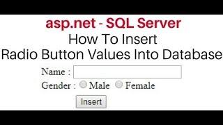 Insert (save) Radiobutton value to database SQL SERVER asp.net