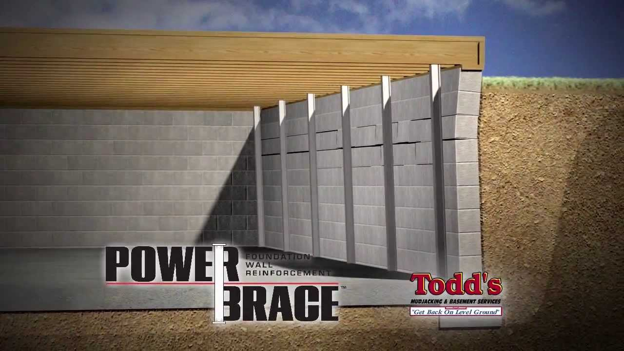 Todds Mudjacking PowerBrace For Cracked U0026 Bowed Basement Walls   YouTube
