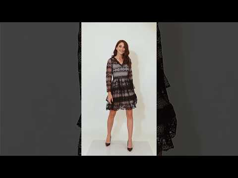 Video: Kobieca sukienka gipiurowa z falbanami