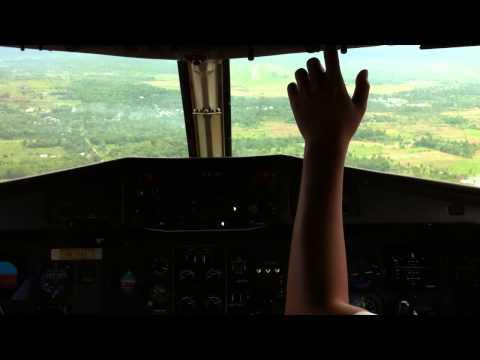 Jump Seat Arrival into Pontianak, Borneo, Indonesia - Trigana Air ATR 42-320