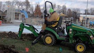 John Deere 1025R Digs The Water Park!! Large Backhoe Project!