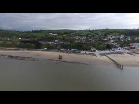 A view of Ferryside, Carmarthenshire from a Parrot Bebop 2