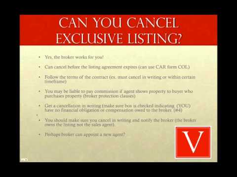 Can I Cancel A Real Estate Exclusive Listing Contract Youtube