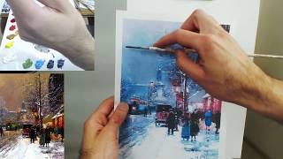Зимний Париж, Живопись онлайн, Ольга и Алексей Швецовы