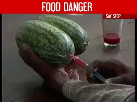 This is how fruits and vegetables are injected chemicals to look better!