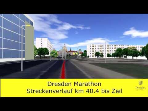 Dresden-Marathon (ab 2016) - Zieleinlauf im 3D-Stadtmodell
