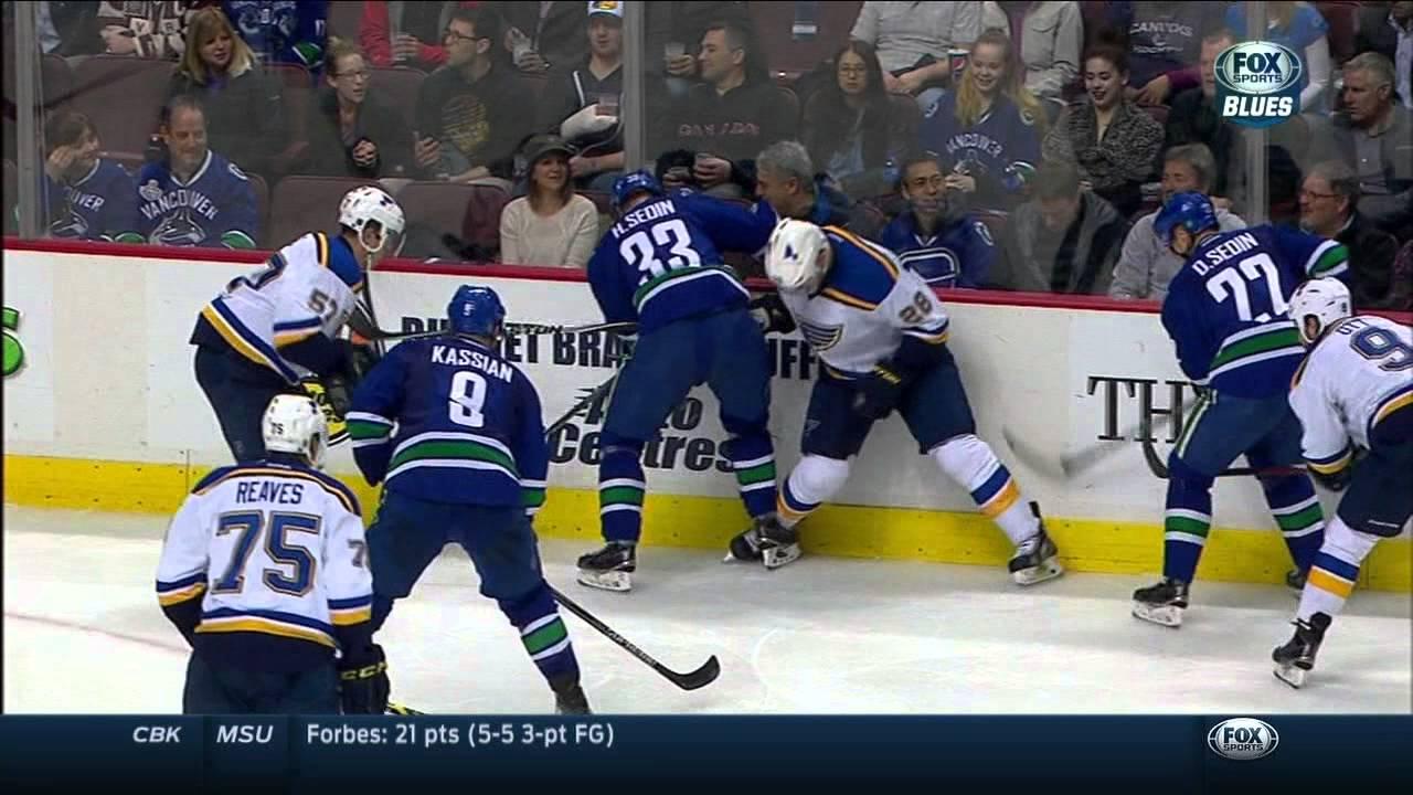 new concept 6b210 c7686 Ryan Reaves dots Zack Kassian's eye. St. Louis Blues vs Vancouver Canucks  Mar 1 2015 NHL