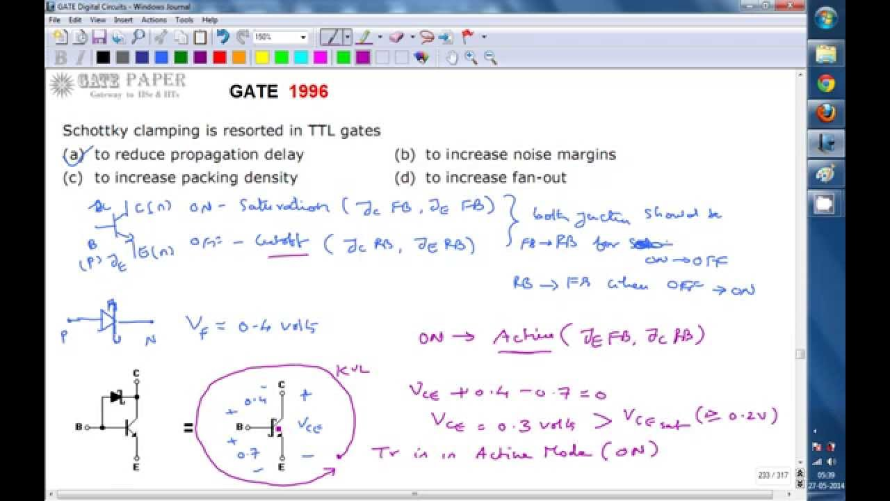 Gate 1996 Ece Schottky Clampling In Ttl Logic Gates Is Used To Transistor And Animation Reduce