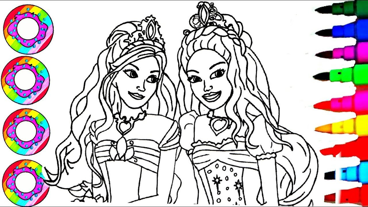 Colouring Drawings Barbie Princess Glitter And Crystals