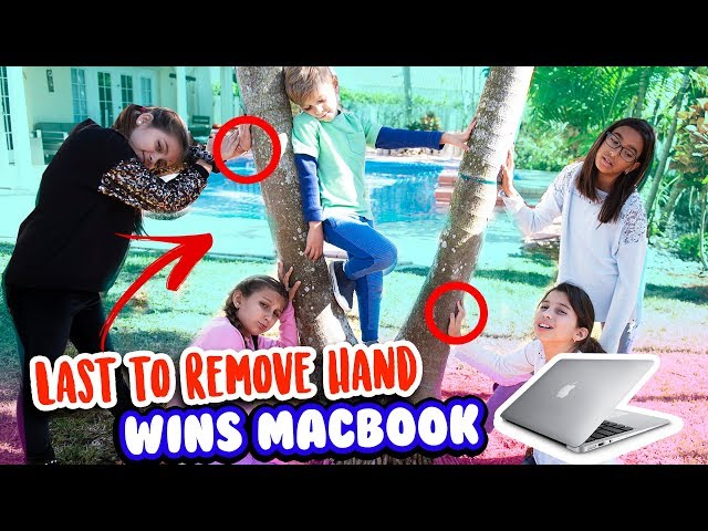 LAST TO REMOVE HAND WINS MACBOOK AND APPLE AIRPODS