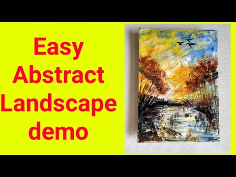 Easy abstract landscape painting|for beginners | demo in acrylic |landscape demo | acrylic colors #3