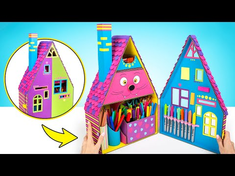 How To Make Colorful Desk Organizer For School Supplies!🏡✏️