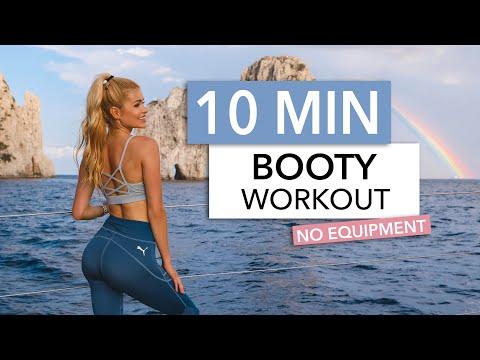 10 MIN BOOTY WORKOUT - training for a bubble butt, NO JUMPS / No Equipment I Pamela Reif