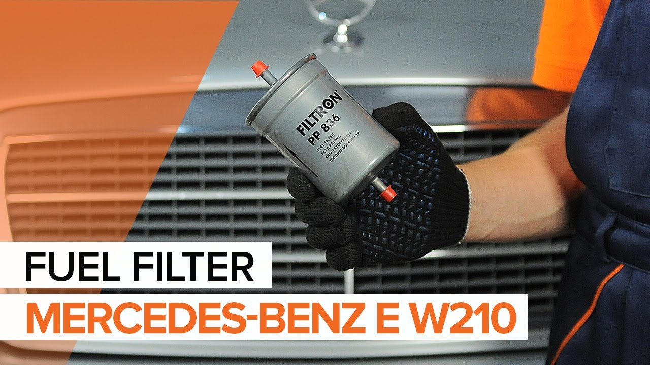 how to replace fuel filter on mercedes benz e w210 tutorial autodoc youtube [ 1280 x 720 Pixel ]