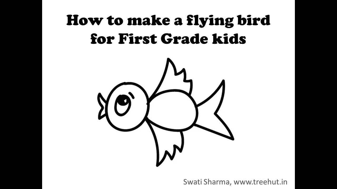 hight resolution of How to Draw a flying bird for 1st Grade kids Video