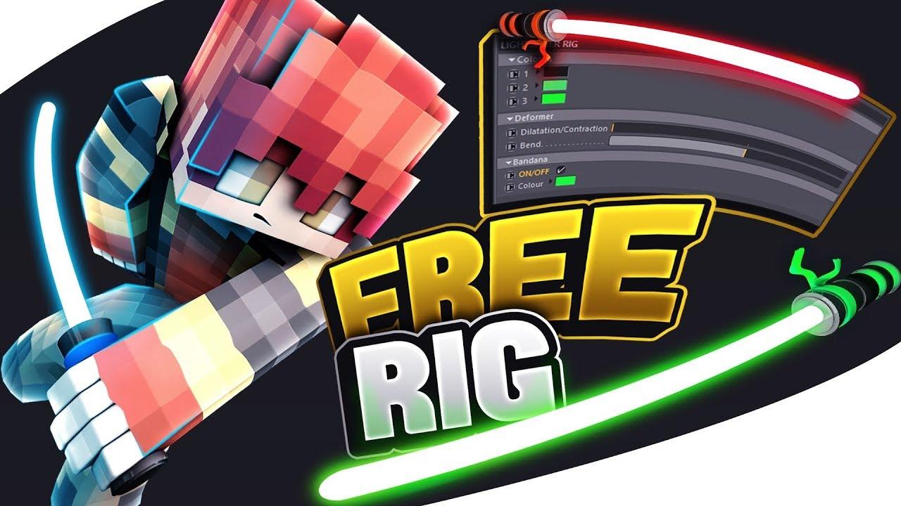 ✦ [Free] LightSaber Minecraft Rig ➤ Cinema 4D ✦
