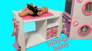 AMERICAN GIRL BITTY BABY CHANGING TABLE UNBOXING + BITTY BABY BELLA!  BY Bitty Baby Channel