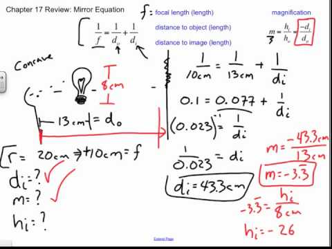 Mirror equation sample problems chapter 17 review youtube for Mirror formula