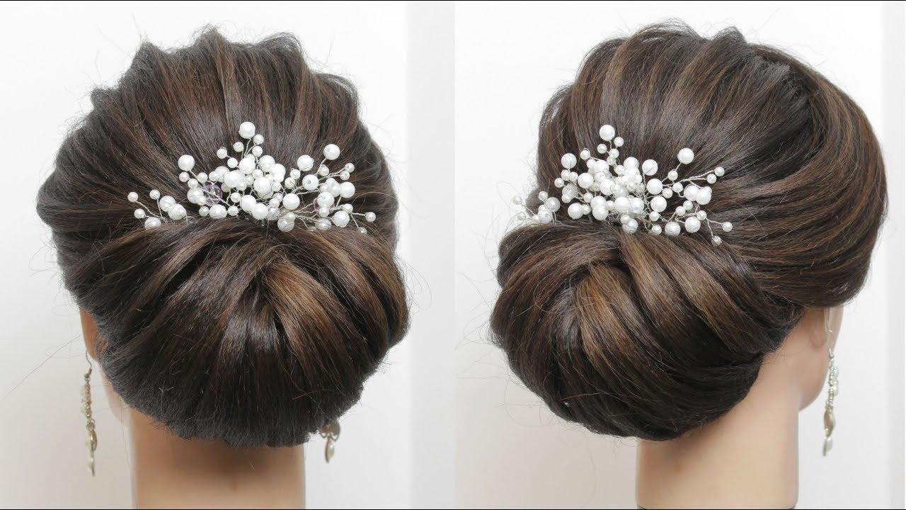 bridal bun hairstyle for long hair tutorial. wedding prom updo