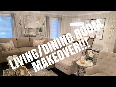 AMAZING LIVING/DINING ROOM MAKEOVER! OPEN CONCEPT! GLAM MAKEOVER! (Z Gallerie, HomeGoods, Etc.)