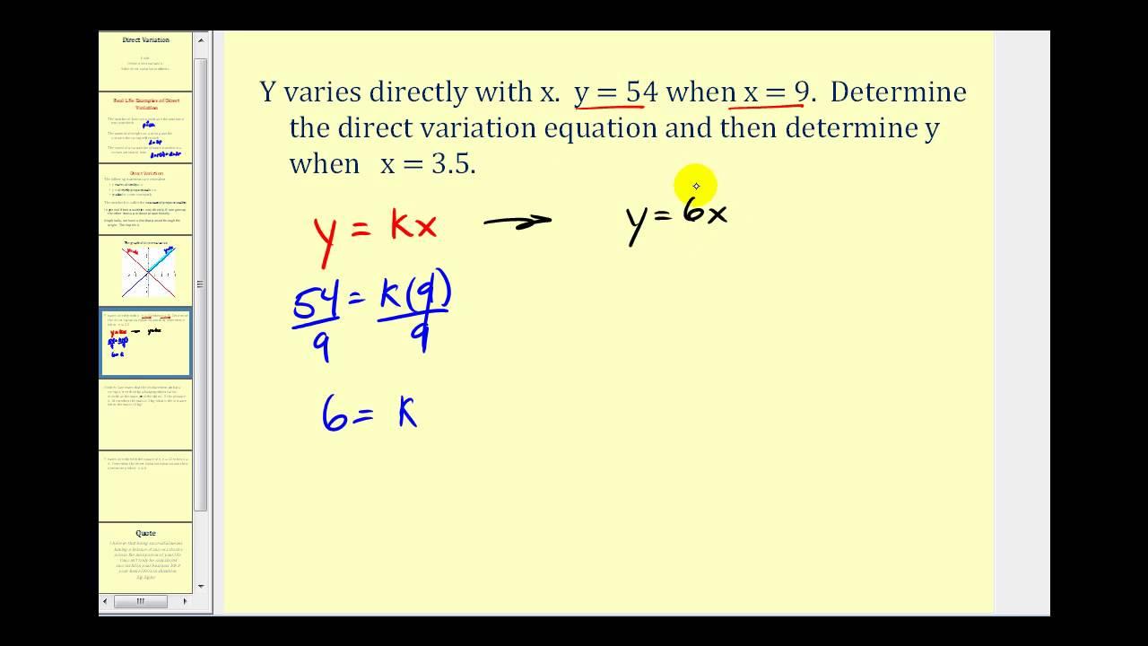 hight resolution of Direct Variation (videos