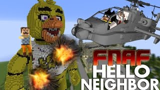 Minecraft Hello Neighbor - GIGA CHICA vs HELICOPTER ROCKETS! (minecraft FNAF ROLEPLAY)