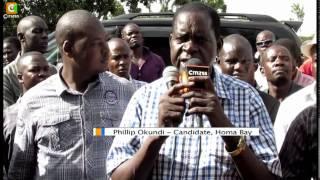 Odinga leads campaigns for ODM's Kajwang in Mbita, Rusinga