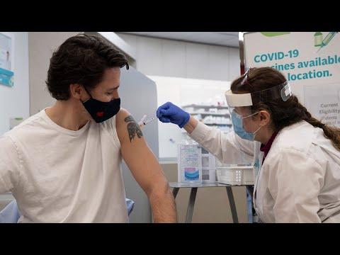 PM Justin Trudeau receives the AstraZeneca vaccine