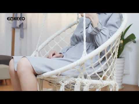 Подвесное кресло-гамак (плетеная качеля) Macrame Creamy, 80*60 см